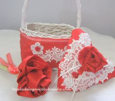 Set of 3 Flowergirl Basket, Flowergirl Wand & Heart shaped Ringbearer Pillow made by Brenda at  www.beadedelegancebybrenda.com & sells for $75 + tax and/or shipping