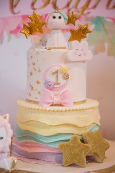 Baby Unicorn 1st Birthday Party Cake