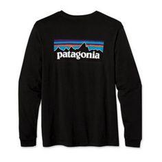 Patagonia P-6 Logo Mens Longsleeve Tshirt in Black (51684-BLK)