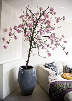 Japanse bloesem - een oude perenboomstam met zachtroze zijden bloesem erin verwerkt