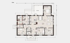Omatalo 148-13 –mallissa on kolme makuuhuonetta, vierashuone, ja tilava olohuone. Bungalow, Humble Abode, House Floor Plans, Sweet Home, Layout, Exterior, Flooring, How To Plan, Architecture
