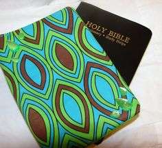 Bible Cover  Retro Green and Brown by bagsbyhags45 on Etsy, $7.00