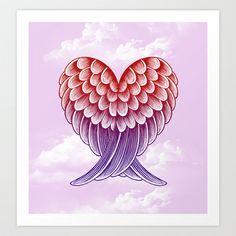 Heart Wings [Pink Version] Art Print by Rachel Caldwell - $19.00