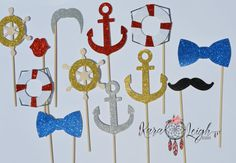 Nautical themed photo props! These are great for weddings, birthday parties, photo booths, kids parties, etc..  These props are made from a heavy glitter card stock attached to a wooden stick  *This listing comes with everything you see in the photo but is completely customize-able. Send me a message if there are additional props you wish to add on to this order!