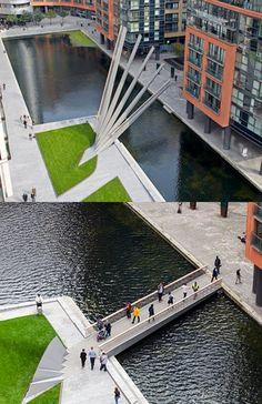 Hydraulic footbridge, Paddington Basin, London. Click image for link to full profile and visit the slowottawa.ca boards >> http://www.pinterest.com/slowottawa/