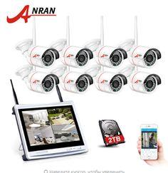 """ANRAN AR-K08W1L12-24NR. 8-канальная беспроводная система видеонаблюдения. 12 """"ЖК-видеорегистратор, 2 ТБ HDD, 720 P HD, H.264 Открытые IP-камеры, ИК, ночного видения. Камеры безопасности."""