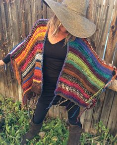 "Items similar to Hip Length Knitted Womens Bohemian Festival Hippie Beach Poncho Cape Shawl (""For Pam"") on Etsy Loom Knitting, Knitting Patterns, Crochet Patterns, Poncho Shawl, Knitted Poncho, Knit Or Crochet, Crochet Shawl, Crochet Clothes, Diy Clothes"
