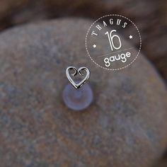 TRAGUS HEART 5mm 16 gauge / BioFlex/ Sterling silver/ tragus earring/labret stud/ heart tragus/ cartilage earring/ helix #afflink