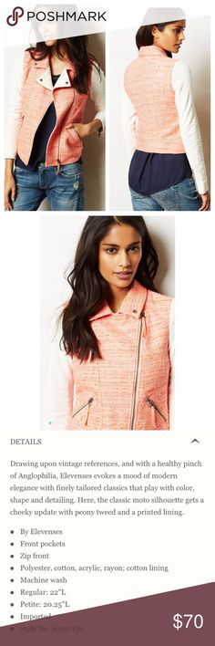 Anthropologie pink moto jacket Anthropologie pink moto jacket. Has never been worn but does not have tags attached. Size 4 and in perfect condition. Anthropologie Jackets & Coats