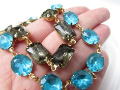 Turquoise Blue Collet Necklace Anna Wintour Style. by damesalamode