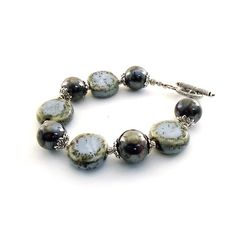 Blue Gray Ceramic Bracelet Silver Beaded by CinLynnBoutique, $21.00