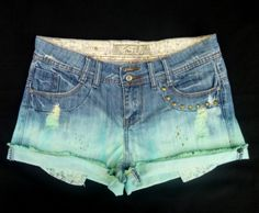 Re-worked Denim Shorts - Dip Dyed Aqua on Denim - Upcycled £10 by Damoiselle Designs on #craftfest