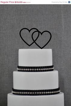 Heart Cake Topper - Two hearts Cake Topper by Chicago Factory