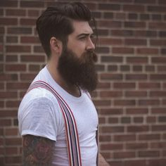 Lane Toran - full thick dark beard and mustache bushy beards bearded man men mens' style suspenders tattoos tattooed handsome #beardsforever