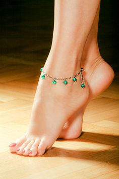 Malachite Ankle Bracelet  Free Shipping by OurSerendipityStones