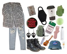 """""""p u n k"""" by star-bean ❤ liked on Polyvore featuring Boohoo, Sandro, Zippo, Dr. Martens, ban.do, Dot & Bo, S'well and Tocca"""