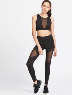 Shop Black Sheer Mesh Insert Crop Tank Top With Leggings online. SheIn offers Black Sheer Mesh Insert Crop Tank Top With Leggings & more to fit your fashionable needs.