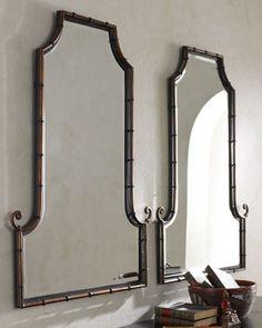 "One 25"" x 42"" Bath ""Bamboo Curl"" Mirror over bath sink"