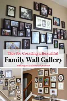 How to Create a Family Wall of Photos or Family Gallery Wall. Easy tips and tricks to have a beautiful display in your home! Hanging Pictures On The Wall, Family Pictures On Wall, Wall Of Pictures Ideas, Wall Photos, Hang Pictures, Hanging Picture Frames, Hanging Photos, Family Picture Collages, Display Family Photos