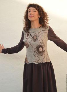 """Купить Платье """"НейроГрафиня"""" - бежевый, абстрактный, платье в пол, длинное платье, платье валяное"""