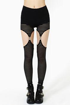 Mesh Stripe Garter Leggings by Nasty Gal