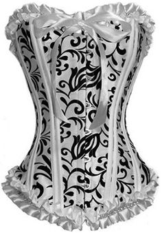 The Violet Vixen - White and black pattern corset with ribbon and ruffles, light weight boning for dancers http://thevioletvixen.com/corsets/black-white-classic-pattern-corset/