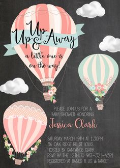 Hot Air Balloon Baby Shower or Sprinkle Invitation, Digital File - Babydusche Tarjetas Baby Shower Niña, Invitaciones Baby Shower Niña, Baby Shower Cards, Baby Shower Themes, Baby Shower Decorations, Shower Ideas, Sprinkle Invitations, Baby Shower Invitations, Shower Bebe