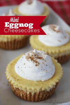 """This delicious Mini Eggnog Cheesecakes takes a creamy cheesecake recipe and adds in a bit of eggnog and nutmeg to give it that special """"eggnoggy"""" twist. #eggnog #cheesecake #dessert"""