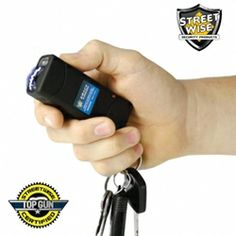 Streetwise S.M.A.C.K. (Stun My Attacker Compact Keychain) 5,000,000 Stun Gun. This amazing stun device is about the same size as a keychain pepper spray (measuring a mere 3.5 inches x 1.25 inches x .75 inches) and uses top quality components to give it more power than most of the stun guns on the market today.