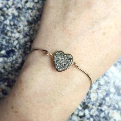 Meteorite Heart Druzy Bracelet