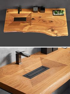 Quirky Home Decor Cone Invi is a modern yet natural bathroom vanity that's made from a single piece of solid wood, with a basin machine-carved out of its surface. Wood Sink, Wood Vanity, Vanity Sink, Natural Bathroom, Modern Vanity, Remodeling Mobile Homes, Wooden Bathroom, Quirky Home Decor, Luxury Homes Interior