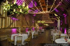 Huge warm white gathered fairy light canopy in the barn at Lillibrooke with deep pink uplighting. Wedding lighting by Oakwood Events. Event Lighting, Wedding Lighting, Canopy Lights, Light Canopy, Uplighting Wedding, Wedding Reception, Pink Wedding Colors, Bright Color Schemes, Purple Themes