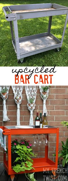 The transformation of this junky old cart is amazing! Now a chic bar cart!