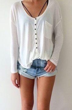 #street #style longsleeve + denim shorts