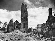 Cathedral at Saint-Lô, after the American Army had driven the Nazis out of the town in 1944.