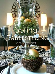 When creating your Spring / Easter tablescape, incorporate your fave everyday HomeGoods decor objects in new ways. A classic hurricane for candles, can become a centerpiece for a modern nest. #HomeGoodsHappy #HappyByDesign #sponsored