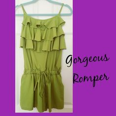 Green Romper Never worn green romper. Bought from a fellow posher and was very happy with it, but my chest is not big enough for this romper. This could even fit a size medium well. Note my chest size is a: 34B -no damages at all or flaws. Beautiful color! Dresses