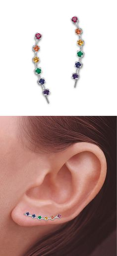 Rainbow Cubic Zirconia & Sterling Silver Ear Pins® #earrings #jewelry #rainbow
