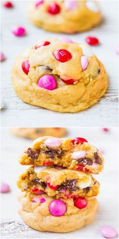 Soft m&m and chocolate chip cookies | pink and red for valentines day