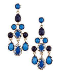 Take a look at this Blue & Gold Floating Stones Triangle Chandelier Earrings by Olivia Welles on #zulily today!