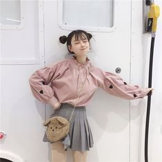 2019 New Summer Spring Korea Sweet Ruffles Stand Neck Shirt Cute Girl Print Long Sleeve Blouse Crop Top Outfits, Retro Outfits, Summer Outfits, Kpop Fashion Outfits, Cute Fashion, Girl Fashion, Korean Blouse, Blouse Models, Classic Skirts