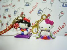 GOTOCHI HELLO KITTY JAPAN Region Tiny Figure Mascot Charm Strap SET Sanrio SALE9c : *condition* Unused (NO package, NO tag), HOWEVER as you can see in the pictures, the Hello Kitty in kimono charm (the right one) has some red ink mark on the back head. So please make sure to look at all of the pictures before bidding or purchasing! Released by Sanrio JAPAN in 2003 (the left one) & 2005 (the right one). 17.99-23.99 (3.80/3.90/4.90)