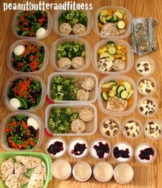 Weekly meal prep/Meal prep Monday:  +Salad with chicken breast (275 cal/30g protein/3g fat/34g carbs) +Turkey meatloaf muffins (185 cal/25g protein/3g fat/7g carbs) with broccoli +Zucchini, yellow squash and bell pepper medley (26 cal/1g protein/0g fat/5g carbs) with chicken breast. +Egg, turkey sausage and bell pepper muffins (48 cal/7g protein/2g fat/1g carbs)  Plus PB&J overnight oats, cottage cheese with sugar free blackberry jam and pistachios. #MealPrepMonday