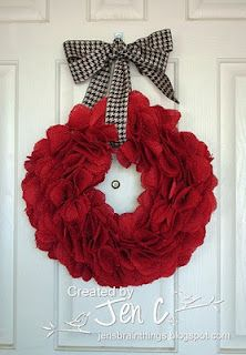 Burlap wreath - We have 2 super huge burlap stockings (2-3 ft ea) from when we were first married that I just can't bear to throw out.  Because they are the traditional brown color, I think I might try spray painting them with a nice color.