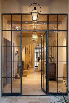 Sleel frame door with steel light fittings