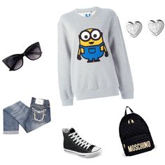 Minion love by singershalini on Polyvore featuring polyvore, fashion, style, Steve J & Yoni P, Miss Me, Converse, Moschino and Links of London