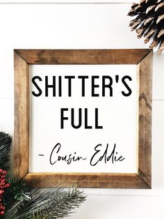 Shitter S Full Merry Christmas Sign Christmas Vacation Funny Bathroom Signs Farmhouse Holiday Wall Decor - Farmhouse Decoration Christmas Bathroom Decor, Vacation Humor, Vacation Ideas, Vacation Movie, Wooden Wall Decor, Vinyl Wall Decor, Unique Wall Decor, Wall Art, Crystals