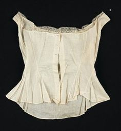 Woman's corset cover American, 1860s Massachusetts or New York, United States DIMENSIONS Center front: 38.1 cm (15 in.) Center back: 45.7 cm...