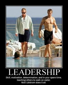 Teaching others to walk on water....Nick Lidstrom, the epitome of leadership.