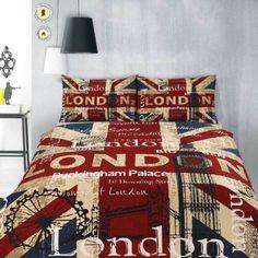 Retro-London-UK-British-Flag-Big-Ben-Teen-SINGLE-Size-Quilt-Doona-Cover-Set